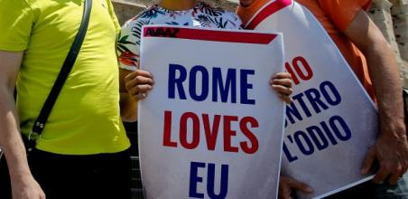 "Protesters with signs, ""Rome Loves EU"""