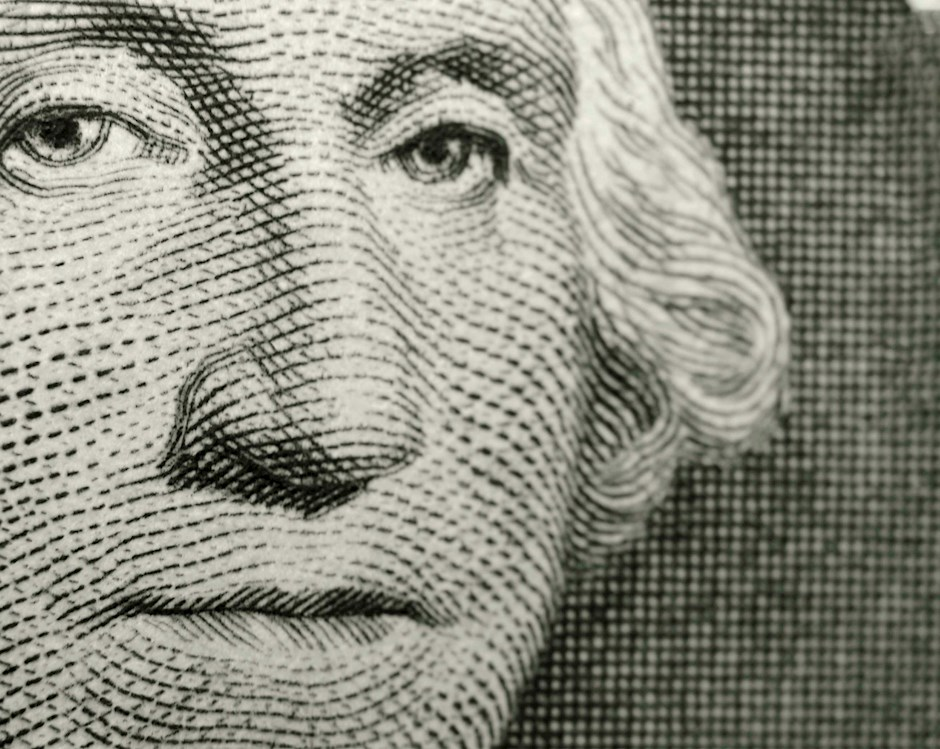 Zoomed in view of a dollar bill