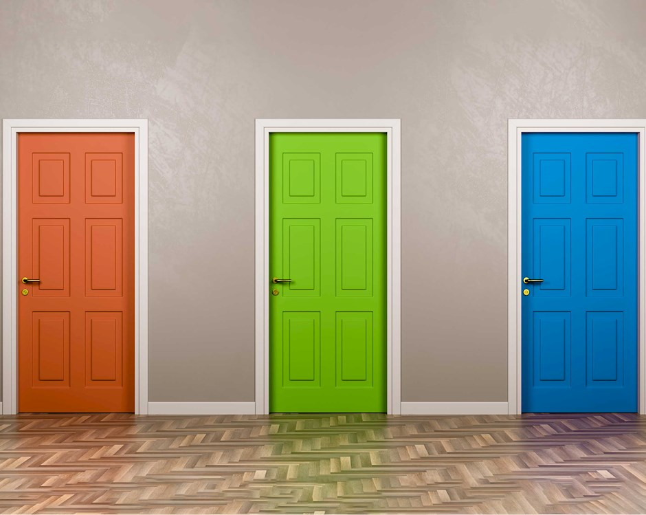 Three doors, each one a different color to reflect choice