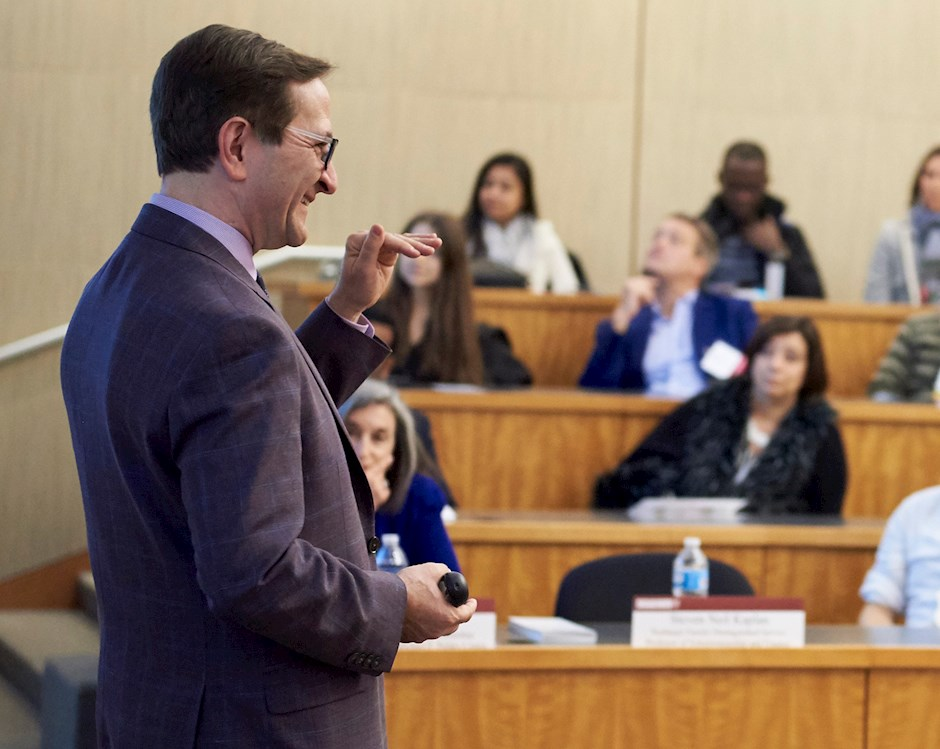 Professor Steven Kaplan of Entrepreneurship and Finance teaching in front of a classroom