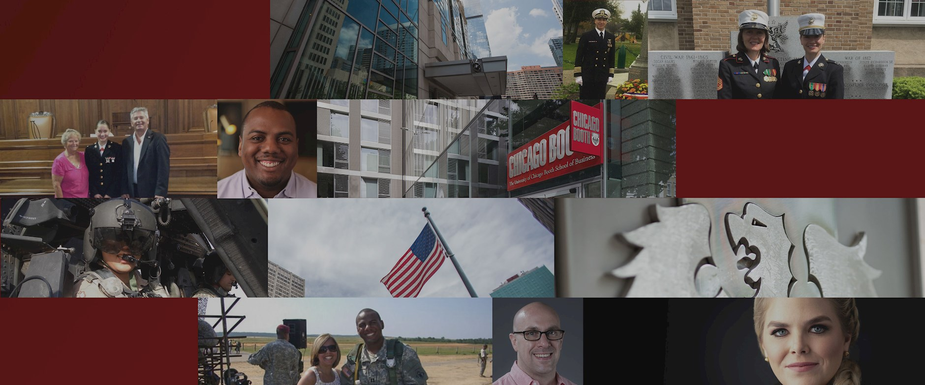 Collage of Booth EMBA veteran and active duty students.