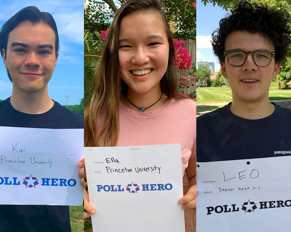 A group of males and one female holding a poll hero sign