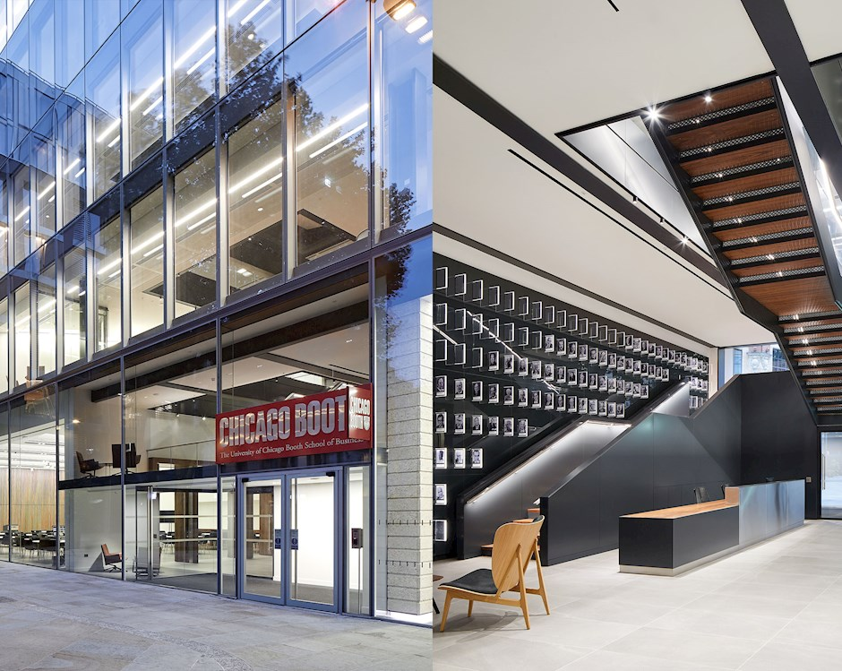 Collage of images of Booth's London campus, showing lounge, front entrance, and staircases.
